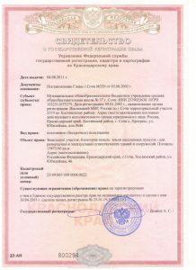 Свидетельство №1(земельный участок) - о государственной регистрации права